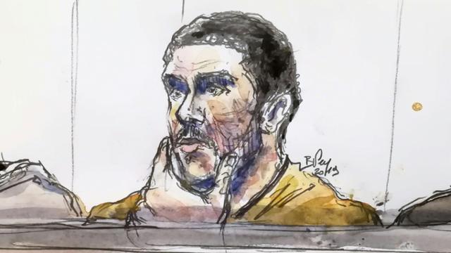 """Le Parquet fédéral belge a réclamé un """"verdict de culpabilité"""" pour Mehdi Nemmouche, dans l'affaire de l'attaque """"bestiale"""" du musée juif de Bruxelles. Dessin daté du 10 janvier 2019. [BENOIT PEYRUCQ / AFP/Archives]"""