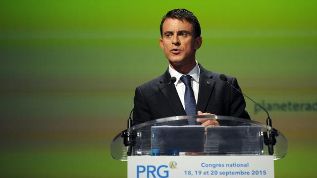 Le Premier ministre français Manuel Valls au 100e congrès du PRG le 20 septembre 2015 à Montpellier [SYLVAIN THOMAS / AFP]