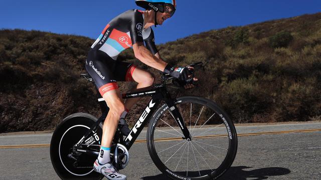 Le Luxembourgeois Andy Schleck sur un contre-la-montre pendant le Tour de Californie le 17 mai 2013 à San Jose [Doug Pensinger / Getty Images/AFP/Archives]