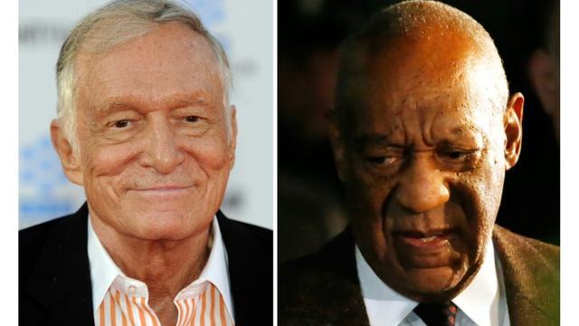 Montage de photos d'archives de Hugh Hefner (g) en 2011 et Bill Cosby en février 2016 [GABRIEL BOUYS, KENA BETANCUR / AFP/Archives]