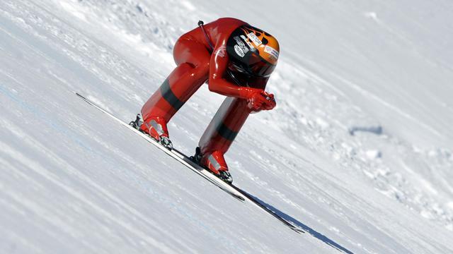 L'Ialien Simone Origone au Mondial de ski de vitesse le 22 janvier 2009 à Vars, dans les Alpes françaises [Gerard Julien / AFP/Archives]