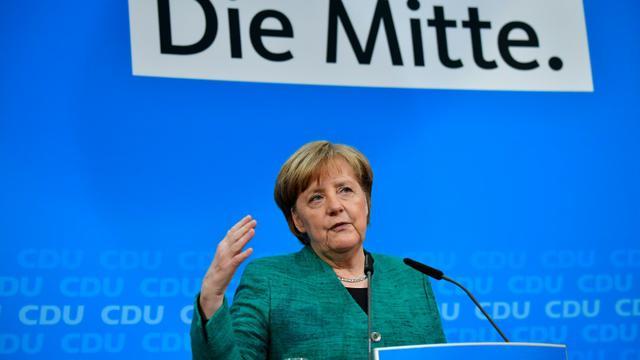 La chancelière allemande Angela Merkel lors d'une conférence de presse, le 25 février 2018 à Berlin [Tobias SCHWARZ / AFP]