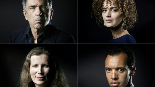 Les quatre auteurs en lice pour le Goncourt cette année, de gauche à droite et de haut en bas : Régis Jauffret, à Manosque le 22 septembre 2016, Leïla Slimani, à Paris le 28 septembre, Catherine Cusset, à Paris le 24 octobre 2016 et Gaël Faye le 13 septembre 2016 à Paris [JOEL SAGET / AFP/Archives]