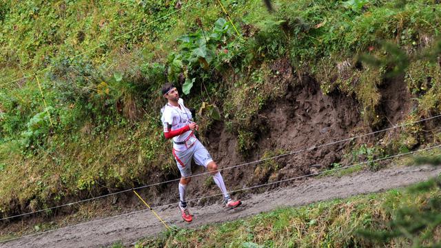 François d'Haene le 30 août lors de l'Ultra Trail 2014 [Jean-Pierre Clatot / AFP]