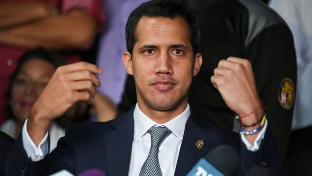 L'opposant Juan Guaido donne une conférence de presse à Caracas, le 3 mai 2019 [RONALDO SCHEMIDT / AFP]