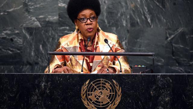 Catherine Samba-Panza le 26 septembre 2015 à la tribune de l'Onu à New York [TIMOTHY A. CLARY / AFP/Archives]