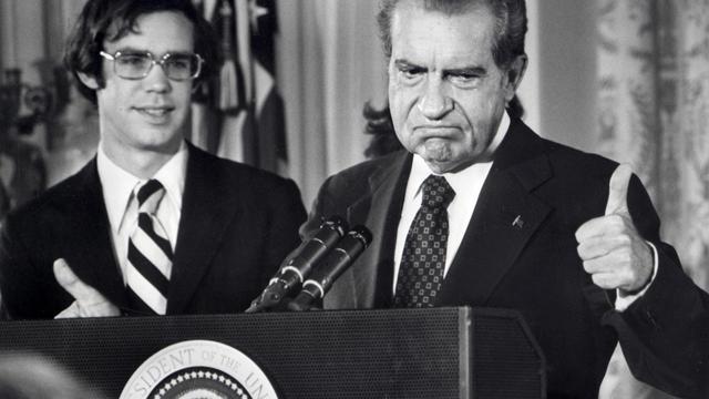 Richard Nixon fait ses adieux à la Maison Blanche le 9 août 1974 [AFP / AFP/Archives]