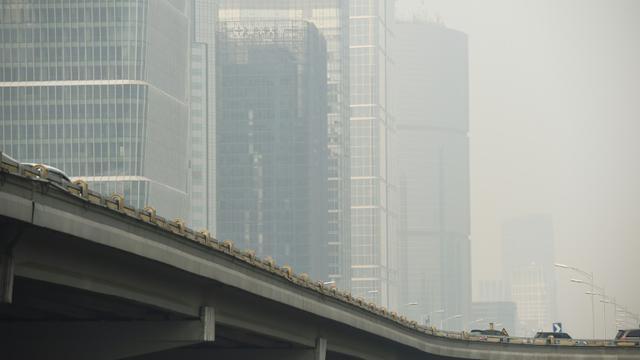 Jour pollué à Pékin, le 4 novembre 2015 [GREG BAKER / AFP]