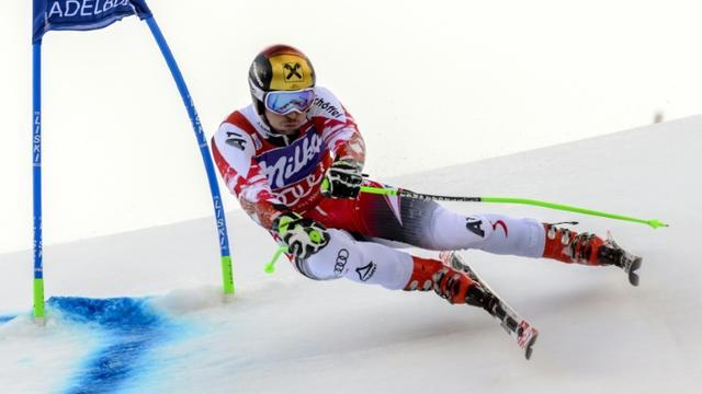L'Autrichien Marcel Hirscher lors du slalom géant d'Adelboden (Suisse), le 10 janvier 2015 [FABRICE COFFRINI / AFP/Archives]