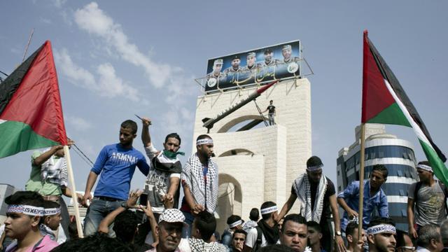 Manifestation anti-Israéliens dans la bande de Gaza, à Rafah, le 20 octobre 2015 [Said Khatib / AFP]
