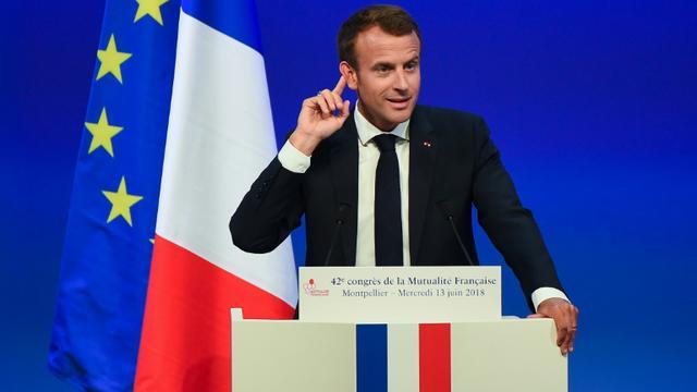 Le président Emmanuel Macron prononçant un discours devant le 42e congrès de la Mutualité française, à Montpellier le 13 juin 2018. [SYLVAIN THOMAS / AFP]