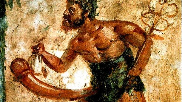 Priape, dieu grec de la fertilité, caractérisé par son érection permanente (fresque de Pompéi)