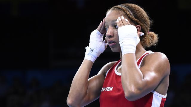 Estelle Mossely sur le ring lors des Jeux européens de Bakou, en juin 2015.
