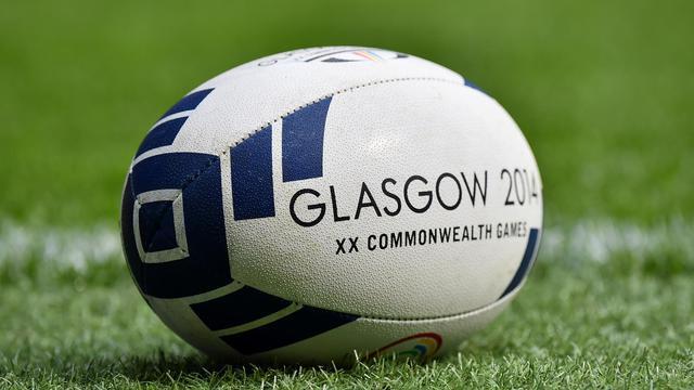 Un ballon de rugby ball à Glasgow le 26 juillet 2014 [Ben Stansall / AFP]