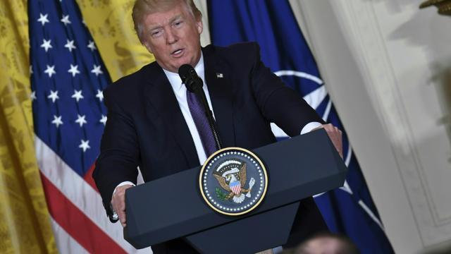 Le président américain Donald Trump lors d'une conférence de presse à la Maison Blanche, le 12 avril 2017 à Washington [Nicholas Kamm / AFP]