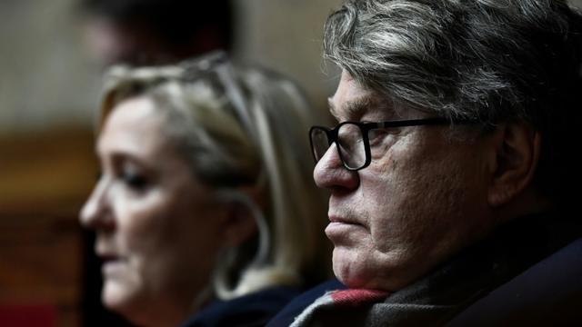 Marine Le Pen et Gilbert Collard, députés RN, à l'Assemblée nationale le 13 février 2019 [STEPHANE DE SAKUTIN / AFP/Archives]