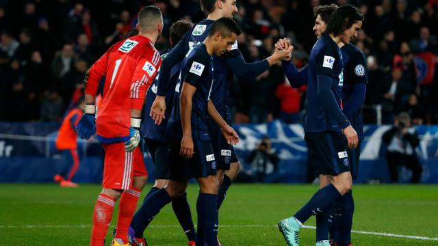 Les Parisiens vainqueurs de l'Olympique lyonnais en Coupe de France, le 10 février 2016 au Parc des Princes [THOMAS SAMSON / AFP/Archives]