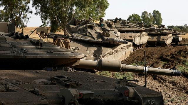 Des chars israéliens sur le plateau du Golan, annexé par l'Etat hébreu, le 2 juin 2019 [JALAA MAREY / AFP]