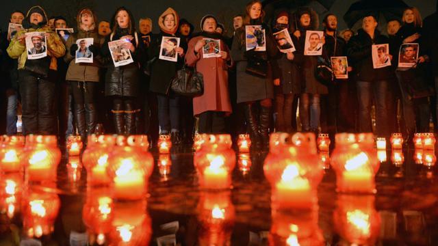 Commémoration le 19 février 2016 à Lviv de la répression sanglante du Maïdan, il y a deux ans  [YURIY DYACHYSHYN                 / AFP]