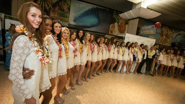 Les 31 candidates au titre de Miss France rassemblées le 22 novembre 2015 à Papeete [GREGORY BOISSY / AFP/Archives]
