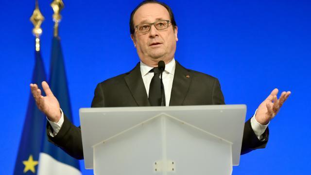 Le président François Hollande, le 16 janvier 2016 à Tulle [GEORGES GOBET / POOL/AFP]
