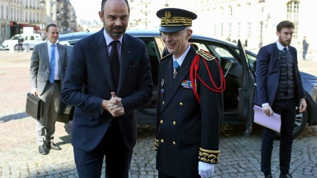 Edouard Philippe et le nouveau préfet de police de Paris, Didier Lallement, à Paris le 21 mars 2019  [Thibault Camus / POOL/AFP]