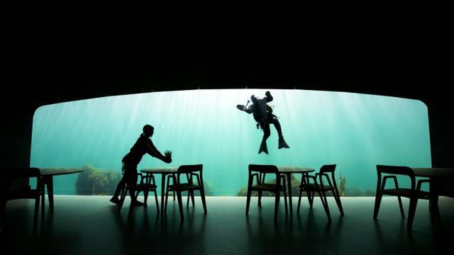 Un plongeur nettoie la vitre du premier  restaurant sous-marin d'Europe, 400 km au sud d'Oslo, le 2 mai 2019 [Jonathan NACKSTRAND / AFP/Archives]