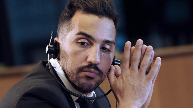 Le joueur de football français Zahir Belounis lors d'une conférence de presse sur la situation des travailleurs migrants au Qatar, au siège de l'Union européenne à Bruxelles le 13 février 2014 [John Thys / AFP/Archives]