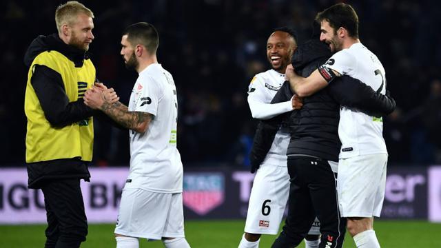 La joie des joueurs de Guingamp à l'issue de leur victoire sur le PSG au Parc des Princes, le 9 janvier 2019 [Anne-Christine POUJOULAT / AFP]
