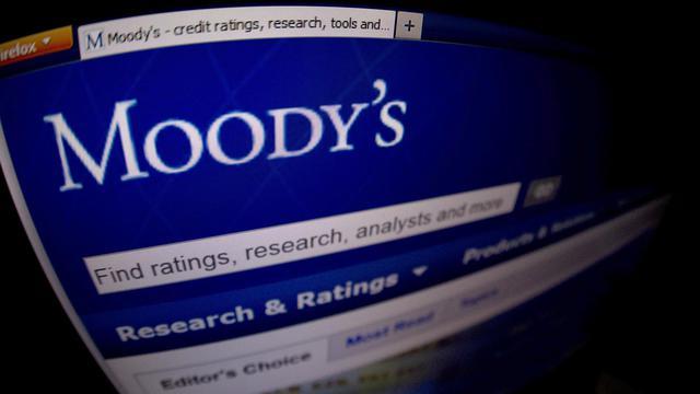 Le logo de Moody's, l'agence de notation financière qui a estimélundi 4 août 2014 que la France devrait manquer ses objectifs budgétaires en 2014 et 2015 [Joel Saget / AFP/Archives]