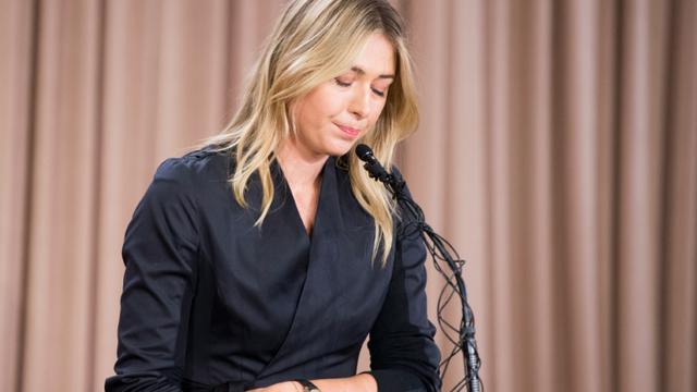 Maria Sharapova lors d'une conférence de presse, le 7 mars 2016 à Los Angeles  [ROBYN BECK / AFP/Archives]