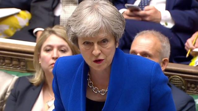 Capture d'écran d'une vidéo fournie par le parlement britannique de la Première ministre Theresa May devant les députés, le 20 juin 2018 à Londres  [HO / PRU/AFP/Archives]