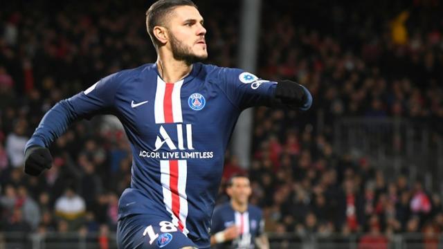 L'attaquant argentin du PSG Mauro Icardi inscrit le but de la victoire à Brest, le 9 novembre 2019  [Damien MEYER / AFP]