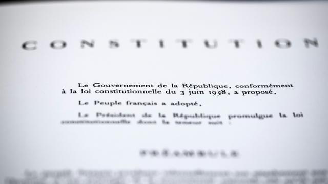 Le préambule de la Constitution française de 1958 visible au Conseil Constititionnel, le 21 juin 2018 à Paris [JOEL SAGET / AFP/Archives]
