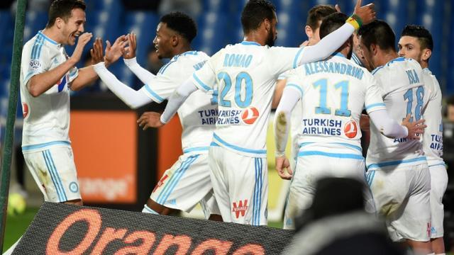 La joie des Marseillais après le but de Georges-Kévin Nkoudou contre Montpellier à La Mosson, le 2 février 2016 [PASCAL GUYOT / AFP/Archives]