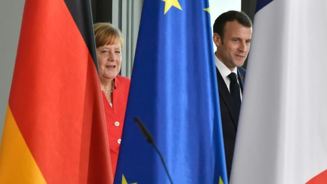 Angela Merkel et Emmanuel Macron, le 19 avril 2018 à Berlin [John MACDOUGALL / AFP]