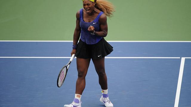 L'Américaine Serena Williams lors de sa demi-finale victorieuse contre la Danoise Caroline Wozniacki, le 16 août 2014 à Cincinnati [Jonathan Moore / Getty Images/AFP]