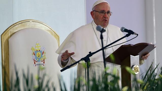 Le pape François, au stade Morelos à Morelia, au Mexique, le 16 février 2016 [ALFREDO ESTRELLA / AFP]
