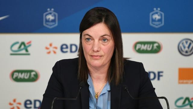 La sélectionneure de l'équipe de France féminine de football Corinne Diacre en conférence de presse le 26 mars 2019 à Paris   [FRANCK FIFE / AFP/Archives]