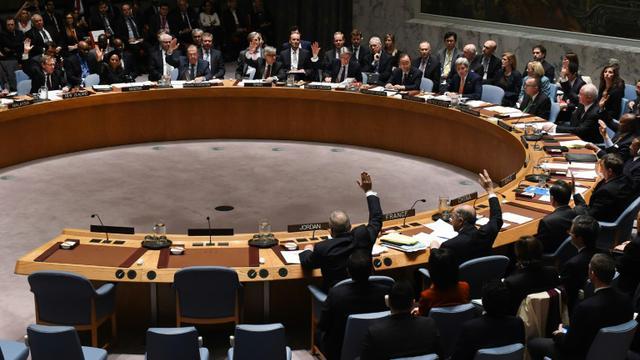 Les ministres des Affaires étrangères votent lors d'une réunion du Conseil de sécurité de l'Onu sur la Syrie, le 18 décembre 2015 à New York [TIMOTHY A. CLARY / AFP]