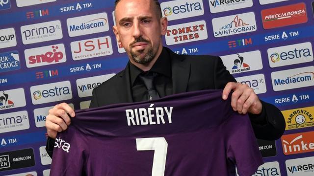 L'attaquant français Franck Ribéry lors de sa conférence de presse de présentation à la Fiorentina, le 22 août 2019 à Florence  [Andreas SOLARO / AFP]