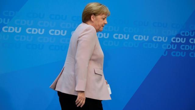 La chancelière allemande Angela Merkel, après une déclaration sur la crise au sein de sa coalition, le 2 juin 2019 à Berlin  [Tobias SCHWARZ / AFP]