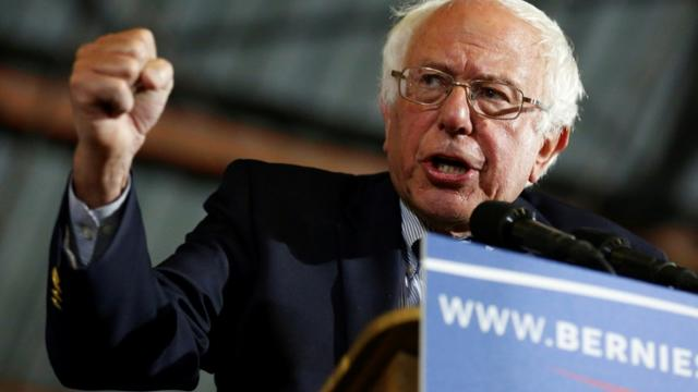 Le sénateur indépendant du Vermont, Bernie Sanders, en juin 2016 à Santa Monica en Californie, lors d'un meeting de campagne pour la primaire démocrate  [JONATHAN ALCORN / AFP/Archives]