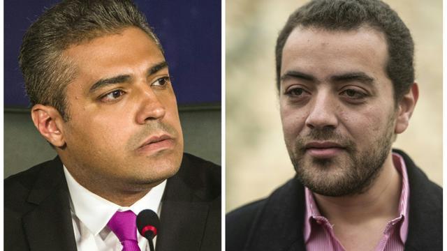 Un montage photo des deux journalistes de la chaîne qatarie Al-Jazeera,  l'Egyptien Baher Mohamed (D) et le Canadien Mohamed Fahmy, le 23 septembre 2015 [KHALED DESOUKI / AFP]