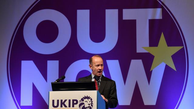 Le chef du parti europhobe britannique Ukip, Henry Bolton, le 29 septembre 2017 à Torquay en Angleterre [Ben STANSALL / AFP/Archives]