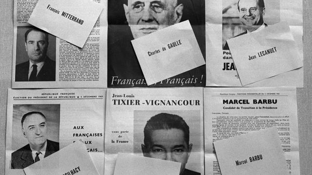 Les bulletins de vote pour l'élection présidentielle de 1965 en France pris en photo le 29 novembre 1965 [- / AFP]