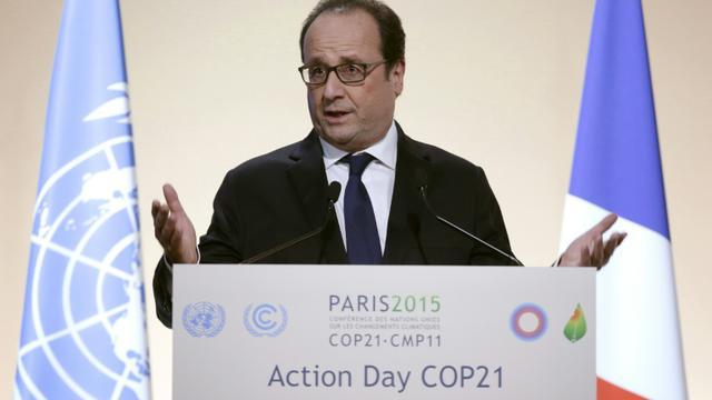 Le président français François Hollande à la conférence climat du Bourget, le 5 décembre 2015 [PHILIPPE WOJAZER / AFP]