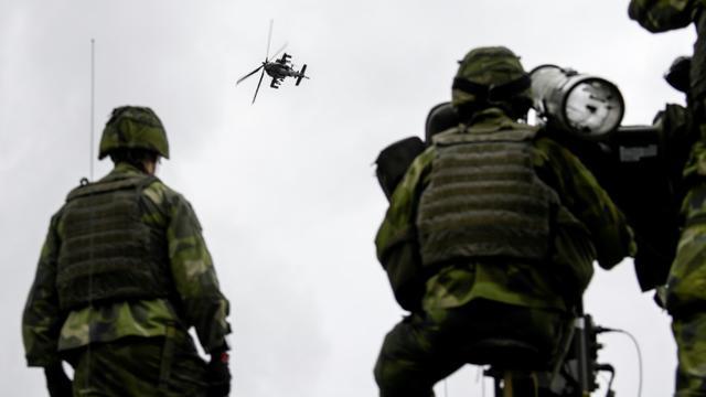 Exercice de la défense anti-aérienne suédoise sur l'île de Gotland, en septembre 2017 [Anders WIKLUND / TT News Agency/AFP/Archives]