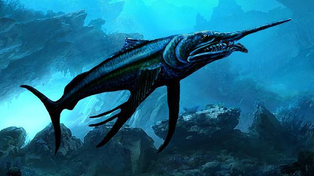 Une illustration de ce à quoi ressemblait le poisson géant, vieux de 100 millions d'années, dont le fossile a été retrouvé en Australie.