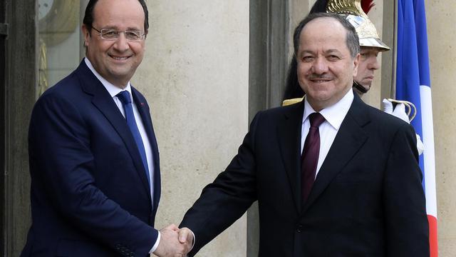 Le président français François Hollande et le président du Kurdistan irakien, Massoud Barzani, le 23 mai 2014